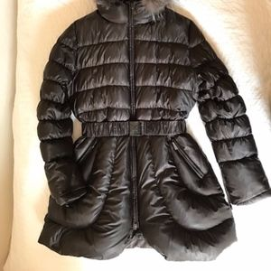 Dawn Levy Goose Down Parka Belted Womens L Coffee